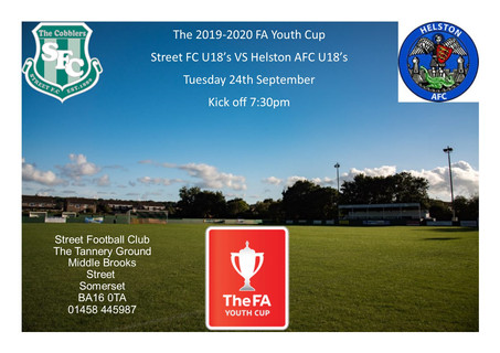 UNDER 18'S IN FA YOUTH CUP ACTION TONIGHT.