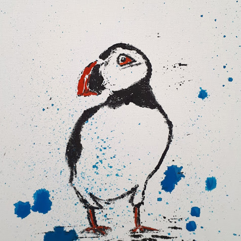 puffin on canvas