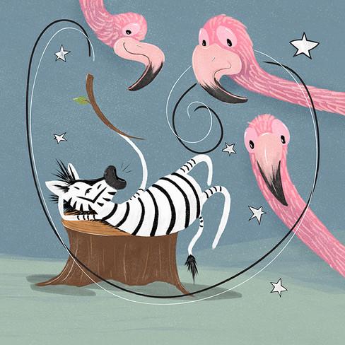 Zebra and flamingoes