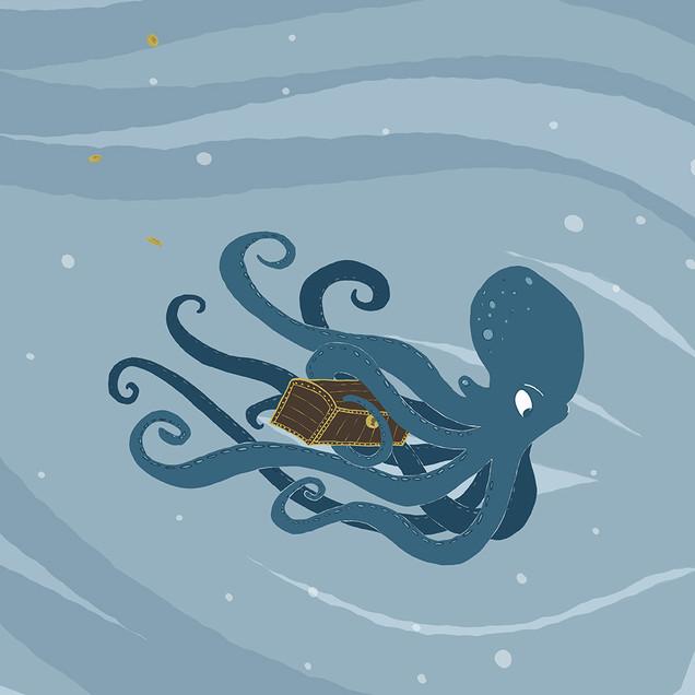 Treasure hunting octopus