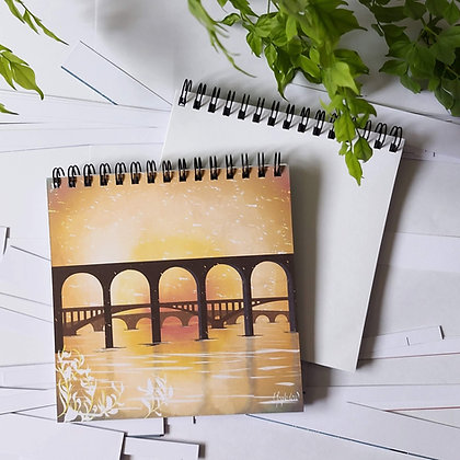 Three bridges of Berwick upon Tweed at sunrise notepad