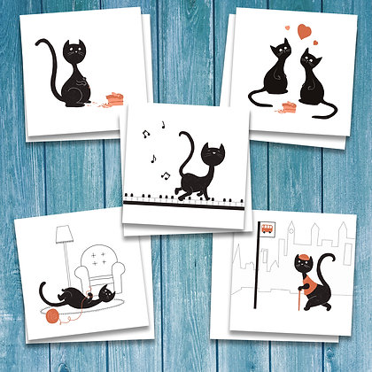 5 pack of black cat cards