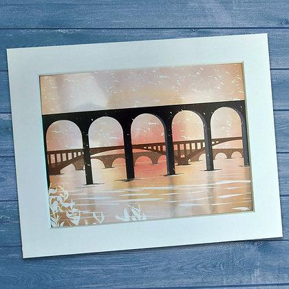 Three Bridges of Berwick upon Tweed at sunrise mounted art print