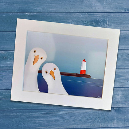 Seagulls Welcoming Tourists to Berwick upon Tweed mounted art print