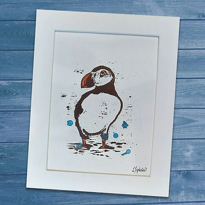Puffin mounted art print