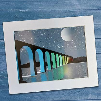 The Royal Border Bridge in Berwick upon Tweed  mounted art print