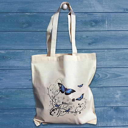 Beautiful blue butterfly cotton tote bag