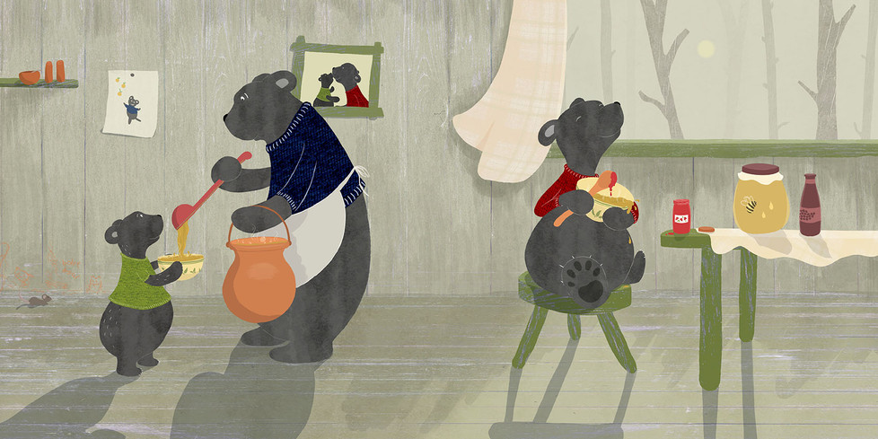 The three bears at lunchtime