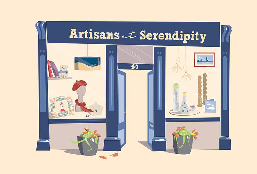 Serendipity shop front illustration