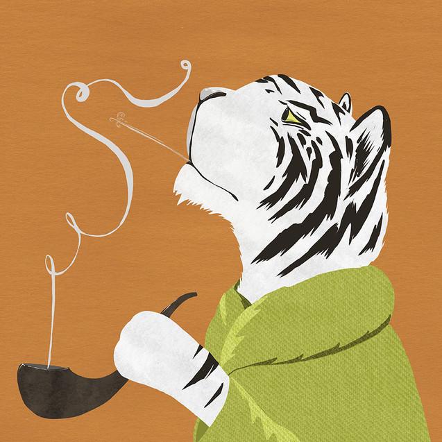 Tiger smoking