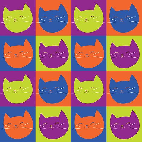 pop art cat face pattern 2