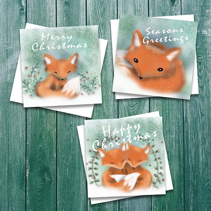 6 pack of foxy Christmas cards