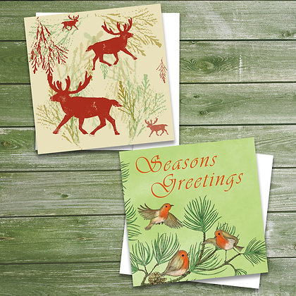 6 pack of woodland Christmas cards