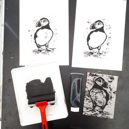 Puffin printmaking
