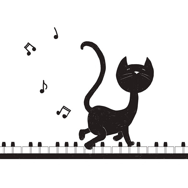 Cat on a piano