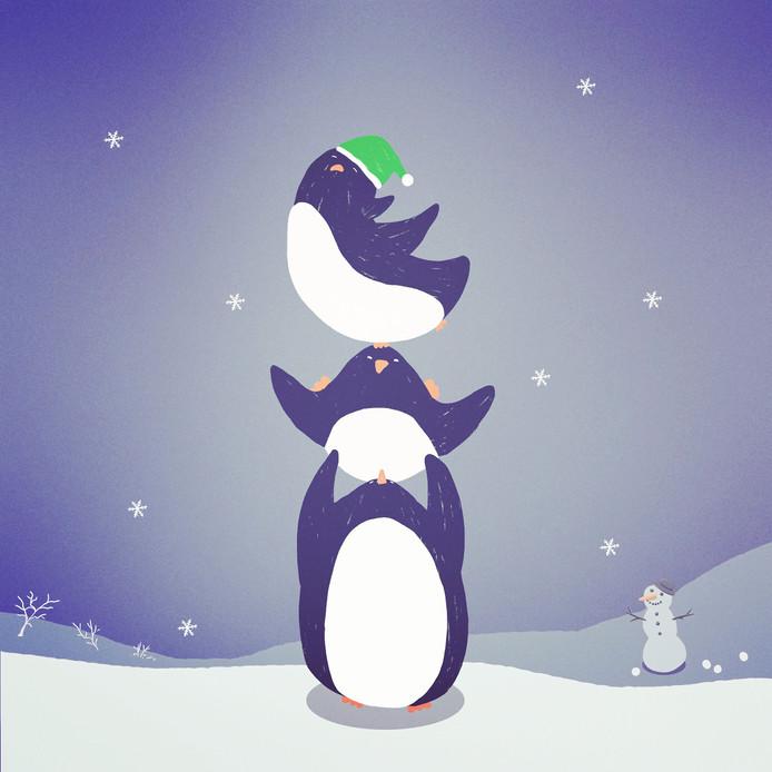 Stack of penguins