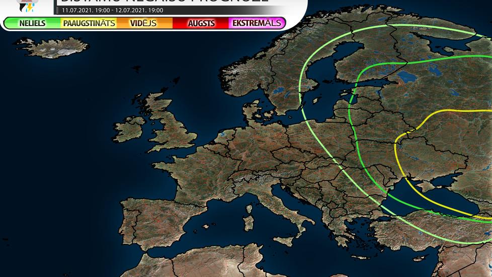 Bīstamu negaisu prognoze 12.07.2021.