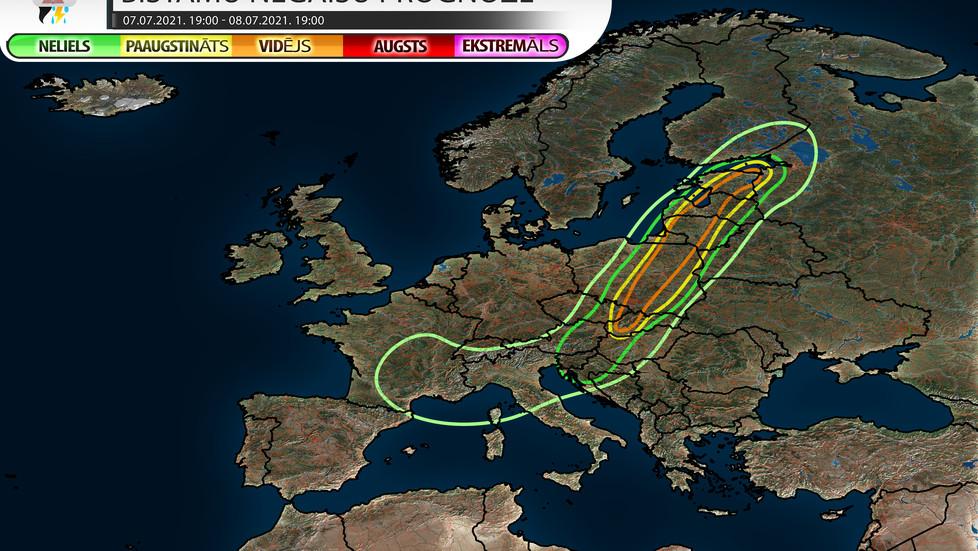 Bīstamu negaisu prognoze 08.07.2021.
