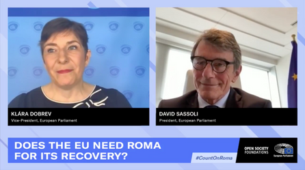 European Parliament VP Klára Dobrev and President David Sassoli discuss the need of the Roma community to get out of the COVID crisis.