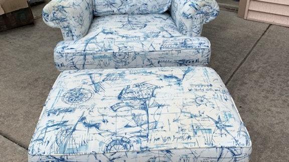 Marine Themed upholstered armchair