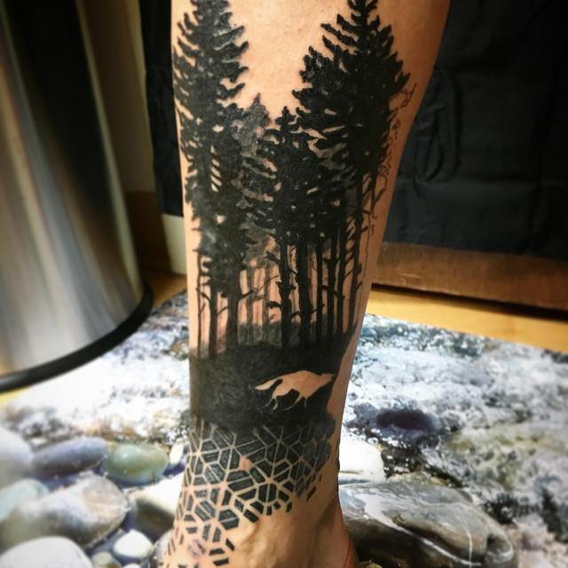 black geometric forest