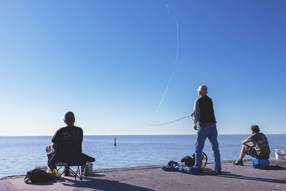 people fishing from shore