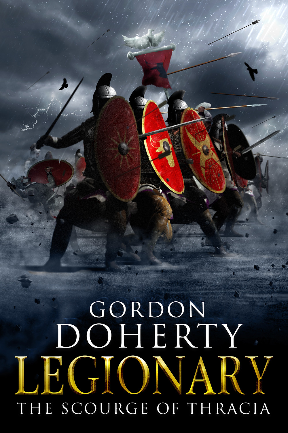 Legionaries raise their shields in cover art for Legionary: The Scourge of Thracia, my latest audiobook