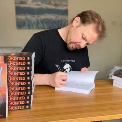Author Antony Dunford signing copies of Hunted