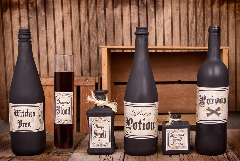 Dusty poison bottles and ancient labels
