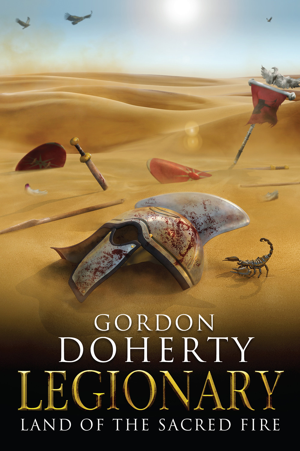 A bloodied legionary helmet lies in the desert sands as a scorpion scuttles into view