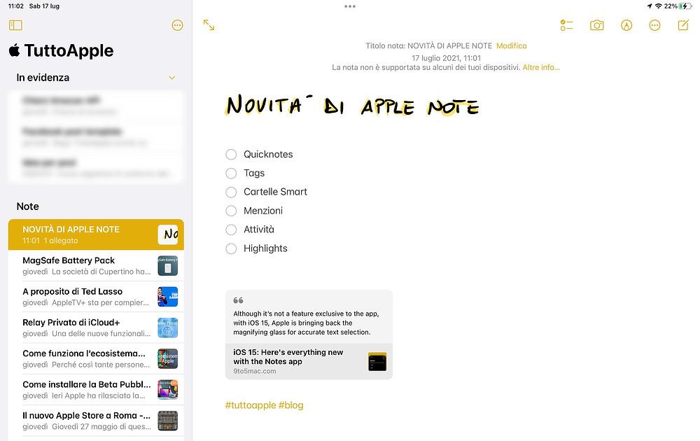 Note iPad OS