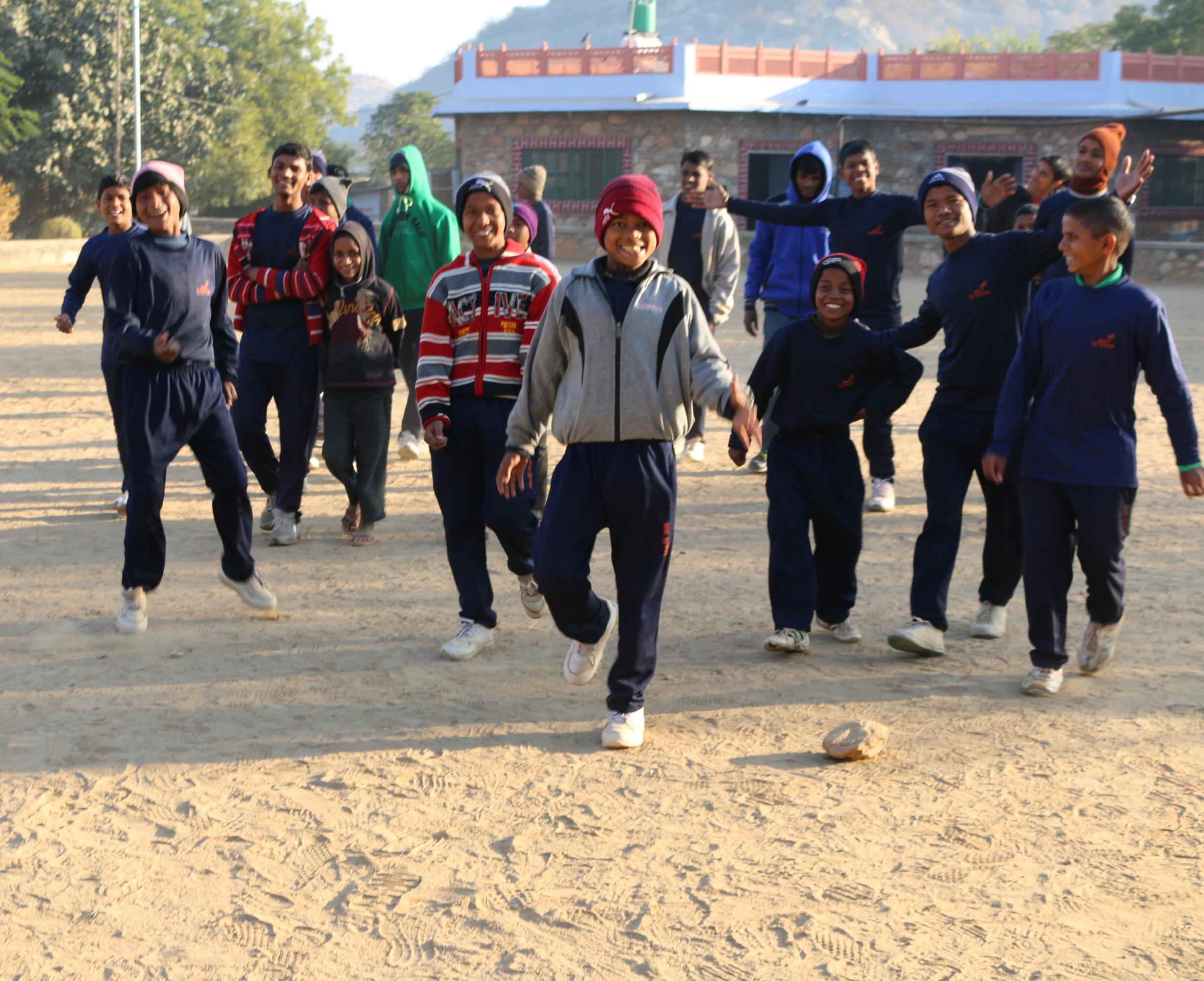 Ashram boys running