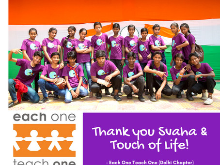 Thank you to Swaha for the Clothes Donation to Each One Teach One!