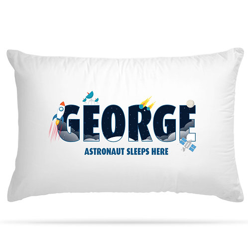 Personalised Pillowcase Kids Space Rocket Astronaut Design  with Custom Name