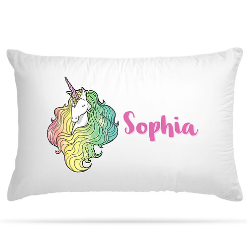 Personalised Pillow Case Unicorn Any Name Print Gift for Kids Bedroom Decoration