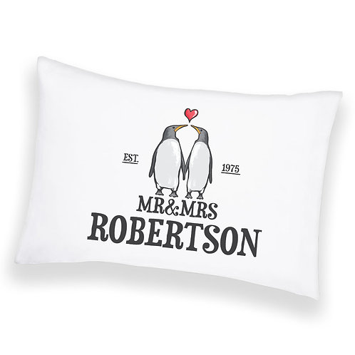 Personalised Cushion Pillowcase Cover Custom Penguin Couple Valentines Gift