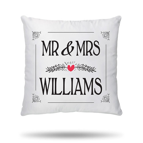 Personalised Cushion Cover Couple Mr and Mrs Wedding Anniversary Valentines