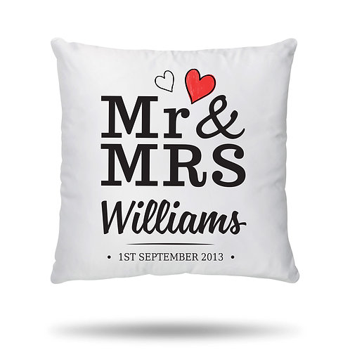 Personalised Cushion Cover Couple Heart Mr and Mrs Wedding Anniversary Valentine