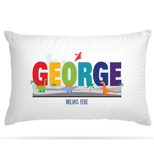 Personalised Pillowcase Kids Dinosaurs with Custom Name