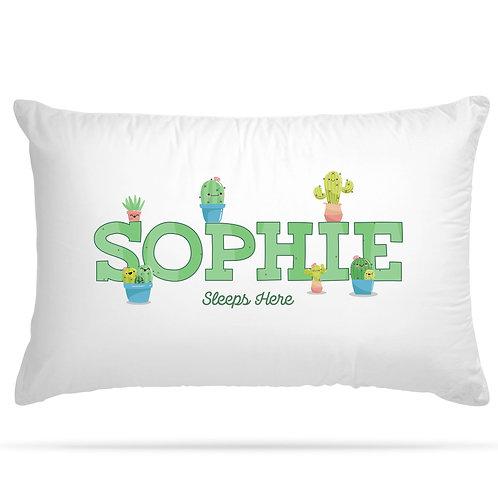 Personalised Pillowcase Kids Cactus Design with Custom Name
