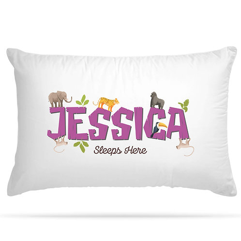 Personalised Pillowcase Kids Jungle with Custom Name