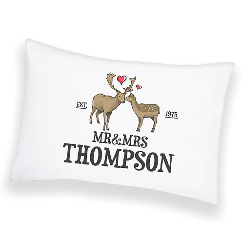 Personalised Cushion Pillowcase Cover Custom Deer Couple Valentines Gift