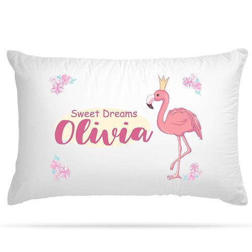 Personalised Pillowcase Kids Flamingo Flowers Design with Custom