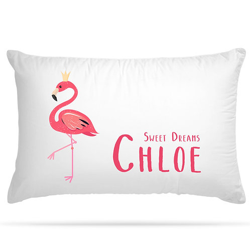 Personalised Pillowcase Kids Flamingo Design with Custom