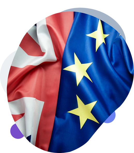 GB and EU flags together