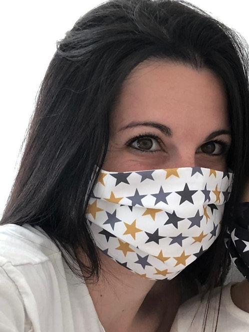 Mustard & Grey Stars Face Mask