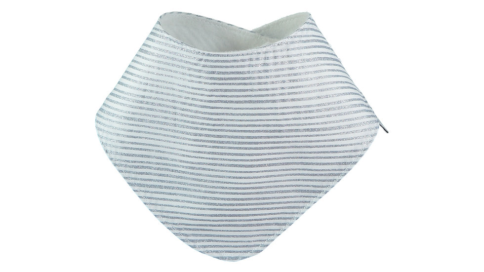 Glitter Blue Stripes Bandana Bib