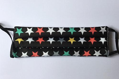 Happy Stars on Black Face Mask