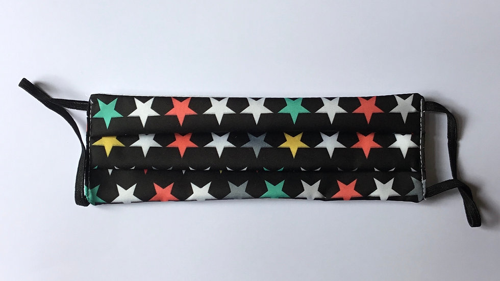 Happy Stars on Black Face Mask
