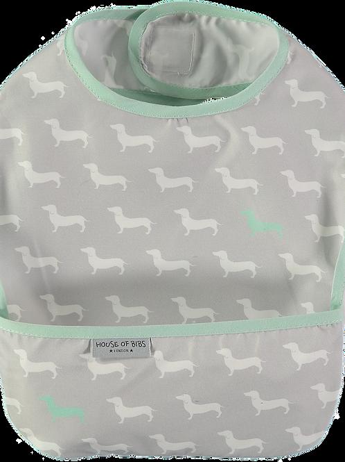 Aqua & Grey Dogs Toddler Bib